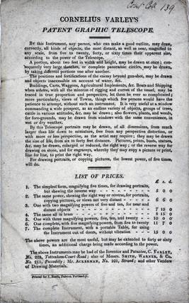 Trade card advertisement for Cornelius Varley's patent graphic telescope, 1811.