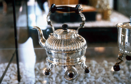 Silver kettle used in Queen Victoria's LNWR saloon, in use 1869-1901.