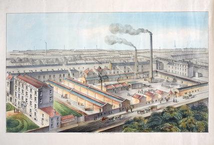 Daniel Spill's Ivoride Works, Homerton, London, c 1870s.