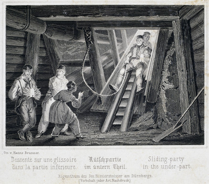 'Sliding Party in the Under Part', Durrnburg, Austria, c 1850s.