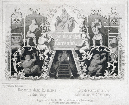 'The Descent into the Salt Mines of Durnberg', Austria, c 1850s.