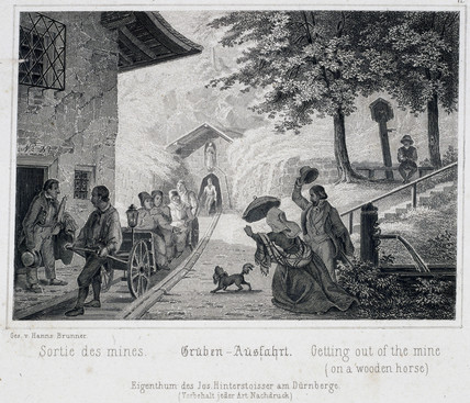 'Getting out of the mine (on a wooden horse)', Durrnburg, Austria, c 1850s.