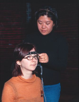 Demonstration of the 'Mind Switch', Who am I? Gallery, Science Museum, 2001.