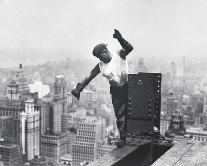 Builder on the Empire State Building', New York, 1930.