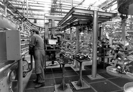 Production line worker, Citroen motor car factory, Levallois, France, c 1960s.