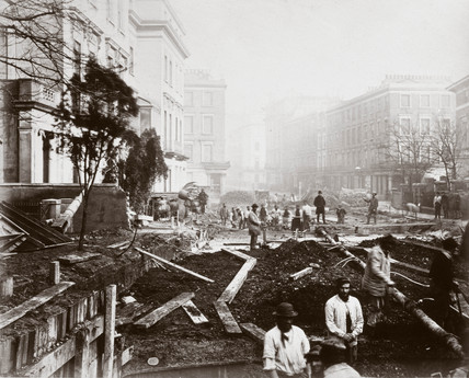 Construction of the Metropolitan District Railway, Craven Hill, London, c 1868.