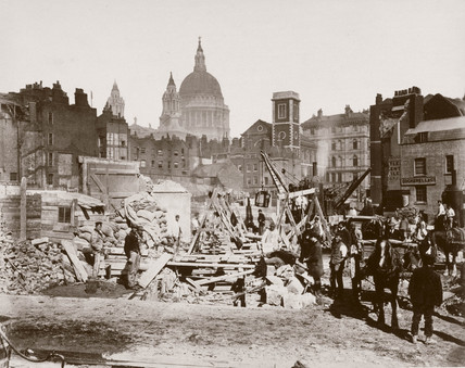 Site clearance at Queen Victoria Street, Blackfriars, London, c 1869.