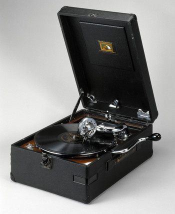 HMV portable gramophone, UK, c 1931.