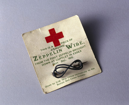 Red Cros fund-raising brooch made from Zeppelin wire, 1917.