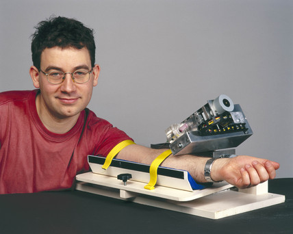 'Bloodbot' with inventor Alex Zivanovic, March, 2001.
