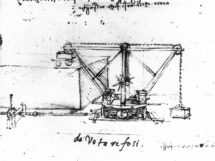 Crane designed by Leonardo da Vinci, c 15th century.