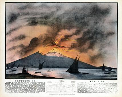 'Eruption of Vesuvius', near Naples, Italy, c 1850.