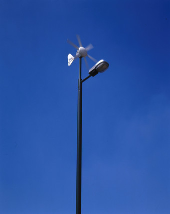 Wind powered street lamp, Buckinghamshire, May 2001.