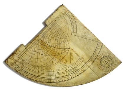 Wooden horary quadrant, Persian, 18th century.