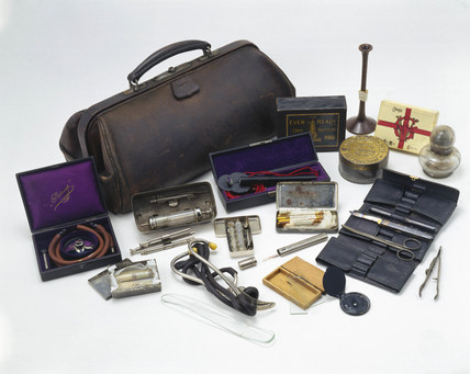 Leather doctor's bag with contents, English, 1890-1930.