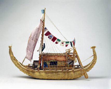 Thor Heyerdahl's reed boat 'Ra II', 1970.
