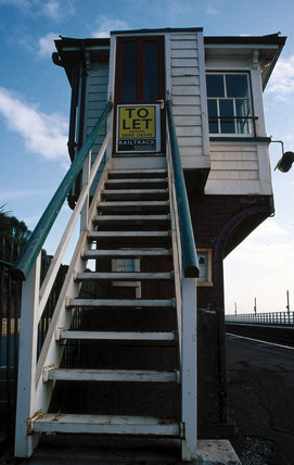 The disused signal box at Dawlish station,