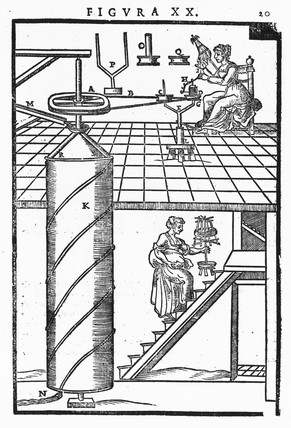 Spinning machine, c 1629.