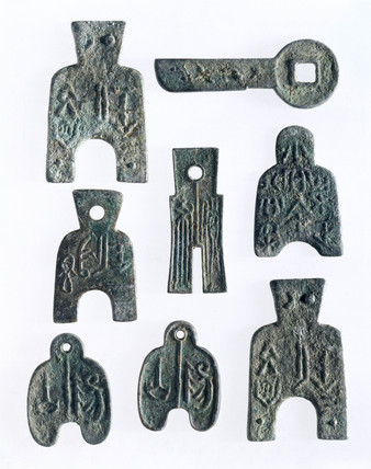 Eight early Chinese coins, c 500 BC-100 AD.