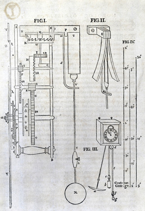 Diagram of a pendulum clock, 1673.