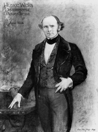 Horace Wells, pioneer of anaesthesia, 1844.
