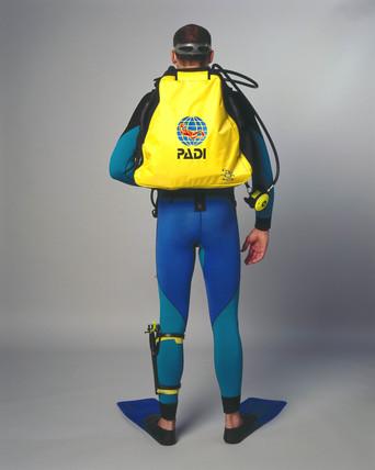 Frogman wearing a Mini Breather scuba backpack, 2001.