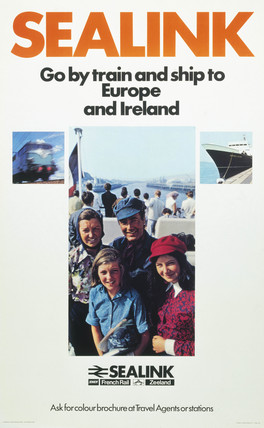 'Sealink - Go by Train and Ship to Europe and Ireland', BR Sealink poster, 1969.