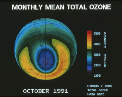 Monthly mean total ozone, October 1991.