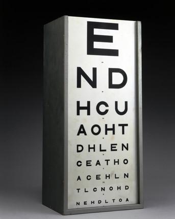 Eyesight test chart, c 1950.