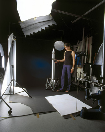 Preparing an object for photography, Science Museum, July 2001.