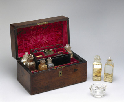 Medicine chest with contents, 1840-1900.