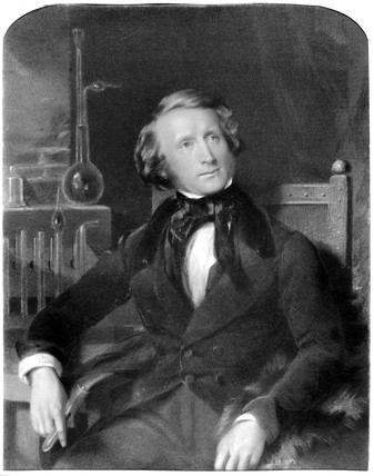 Alexander Parkes, inventor of the first synthetic plastic, c 1850.