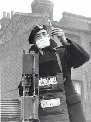 Testing for smog, London, 16 November 1954.
