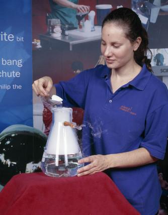 Preparing a carbon dioxide 'bubble', Science Museum, London, August 2001.