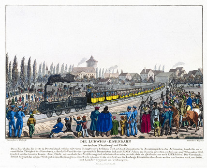 Opening of the Nuremburg-Furth Railway, Germany, 7 December 1835.