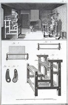 A knitting machine, 1751-1765.