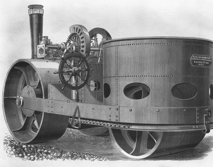 Aveling & Porter steam road roller, 1867.