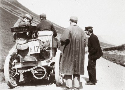 C S Rolls in his 12 hp Panhard during the 1000 Mile Trial, 1900.