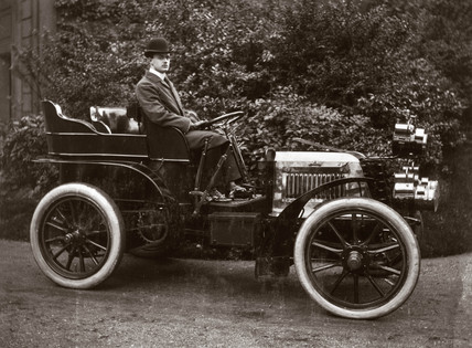 C S Rolls sitting in his 24 hp Panhard motor car, 1903.