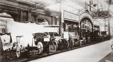 Charles S Rolls & Co's stand at Britain's first motor show, Crystal Palace, 1903.