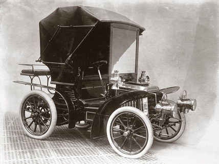 Motor car on C S Rolls & Co's stand, Agricultural Hall, London, 1903.