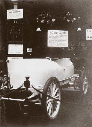 80 hp Mors Racer on the C S Rolls & Co stand at a trade fair, London, 1903.