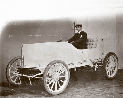 C S Rolls with of his record-breaking 80 hp Mors Racer, 1903.