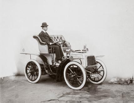 C S Rolls in his 7 hp Panhard motor car, 1903.