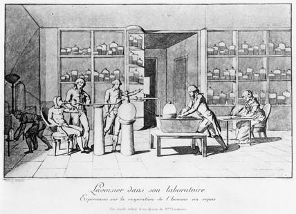 Antoine Lavoisier in his laboratory, 18th century.