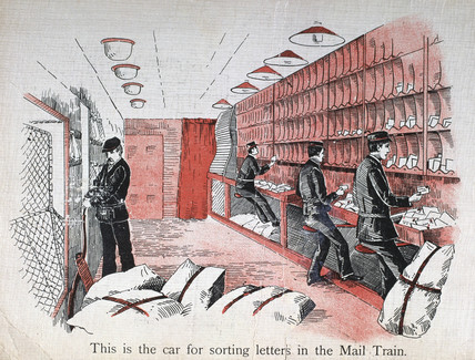 'This is the car for sorting letters in the Mail Train', 1890-1891.