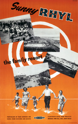 'Sunny Rhyl - The Family Resort', BR (LMR) poster, 1955.