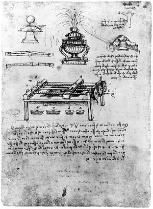 Screw-cutting machine from Leonardo da Vinci's notebook, 1470-1520.