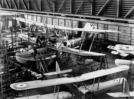 'Calcutta' flying boat under construction, Short's factory, Belfast, 1928.