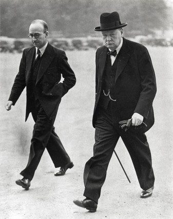 Winston Churchill out walking, 27 September 1939.